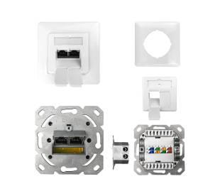 Datendose Netzwerkdose Unterputz Cat.6 ClassE 250MHz 2-Port geschirmt weiß Anschluss rechts/links