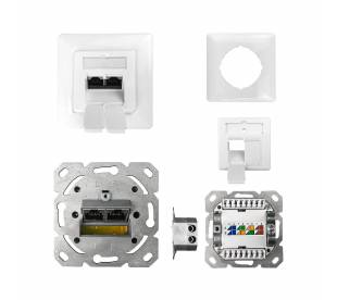 Datendose Netzwerkdose Unterputz Cat.6 ClassE 250MHz 2-Port geschirmt weiß RE/LI