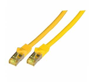 Patchkabel Cat.6A S/FTP LSZH Cat.7 Rohkabel RJ45 PiMF 10GB gelb 3m