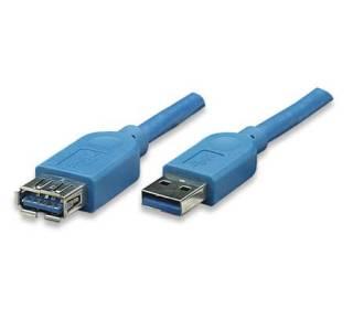 USB3.0 Kabel TypA-Stecker - TypA-Buchse blau 2m Techly ICOC-U3-AA-20-EX