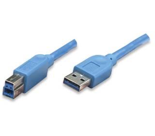 USB3.0 Kabel TypA-Stecker - TypB-Stecker blau 1m Techly ICOC-U3-AB-10-BL