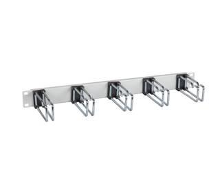 """19"""" Kabelführungspanel 1HE Stahl Metall mit 5 Doppelbügel 75mm/110mm grau/schwarz"""