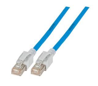 Patchkabel Cat.6a VC LED S/FTP LSZH Cat.7 Rohkabel RJ45 PiMF 10GB blau 1m