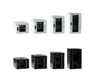 """10"""" Wandgehäuse Netzwerkschrank Rack 4HE/6HE/9HE/12HE Tiefe 450mm grau/schwarz Premium ProfiPatch"""