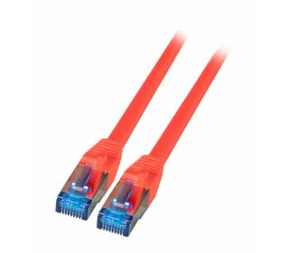 Patchkabel Cat.6A S/FTP TPE superflex mit Cat.7 Rohkabel 10GB rot 0,5m