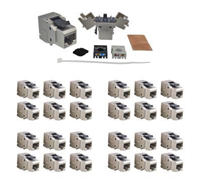 24x RJ45 Keystone Modul Cat.6a 500 Mhz 10Gbit vollgeschirmt werkzeuglos - Premium Qualität