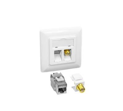 1x Cat.6A Netzwerkdose weiß mit Keystone Jack Modul 10Gbit RJ45 LAN + TV SAT F-Antenne
