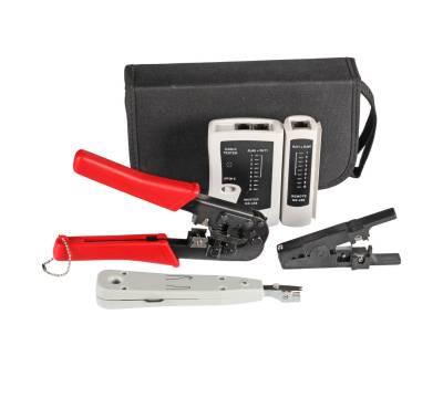 Netzwerk Werkzeug Set 4-teilig LSA-Tool Crimpzange Kabeltester Abisolierwerkzeug
