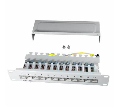 "10"" Patchpanel Cat.6A 500MHz 12-Port 1HE RJ45 geschirmt grau 10GB ProfiPatch"