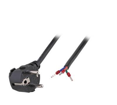 Netzleitung Schutzkontakt 90° CEE 7/7 - Open End AE 3 x 0,75/1,00 mm²  schwarz1,8/3/5m