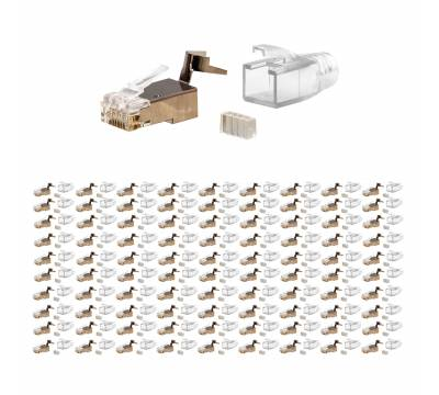 100x Netzwerk Stecker Set RJ45 Patchkabel Cat7/6A geschirmt AWG26/27 ProfiPatch