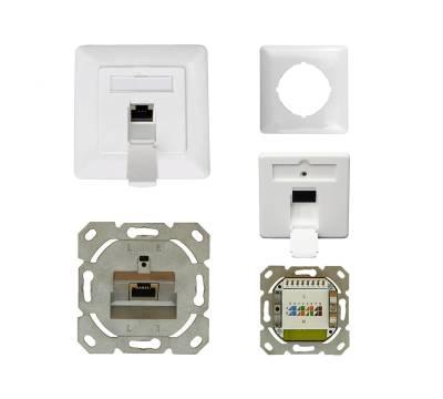 Datendose Netzwerkdose Unterputz Cat.6A Cl.Ea 500MHz 1-Port geschirmt weiß Anschluss rechts/links