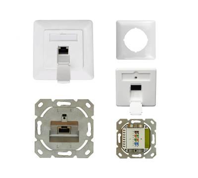 Datendose Netzwerkdose Unterputz Cat.6A Cl.Ea 500MHz 1-Port geschirmt weiß Anschluss oben/unten
