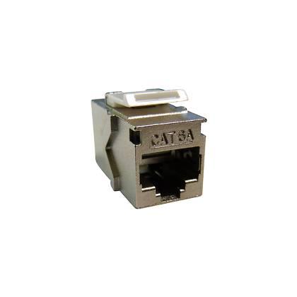 1x Cat.6A Keystone Einbauadapter Verbindungskupplung RJ45 Buchse beidseitig 1:1 geschirmt Metallgehäuse