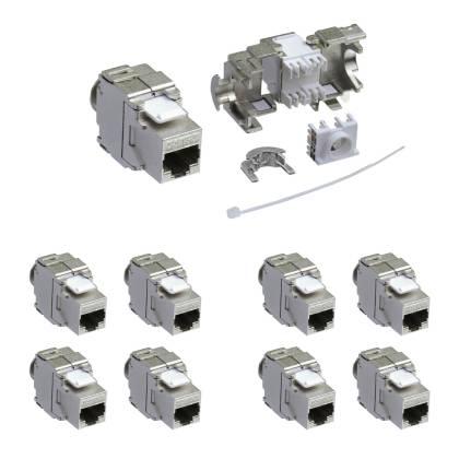 8x Keystone Jack Modul Cat.6a RJ45 STP werkzeuglos Netzwerk Adapter ProfiPatch