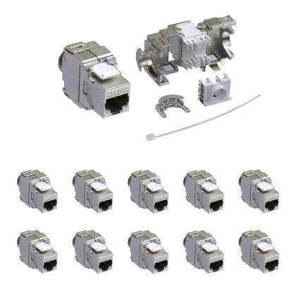10x Keystone Jack Modul Cat.6a RJ45 STP werkzeuglos Netzwerk Adapter ProfiPatch
