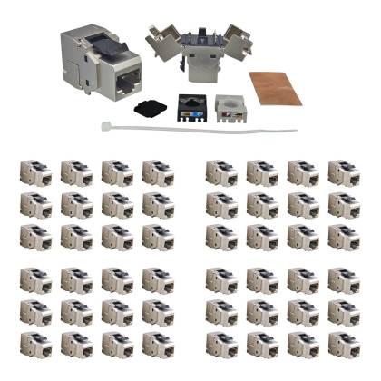 48x RJ45 Keystone Modul Cat.6a 500 Mhz 10Gbit vollgeschirmt werkzeuglos - Premium Qualität