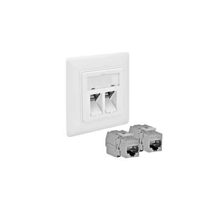 1x Cat6A Netzwerkdose Datendose weiß mit Keystone Jack Modul RJ45 10GB LAN ProfiPatch
