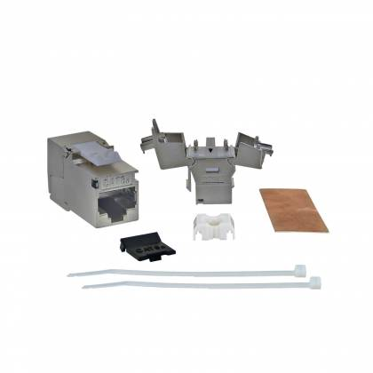 1x Keystone Jack Modul Cat6a Slim 500Mhz 10GBit RJ45 geschirmt werkzeuglos ProfiPatch - Professionelle Qualität