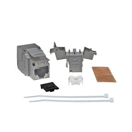 RJ45 Keystone Modul STP Cat.8 Class1 2000Mhz 40Gbit vollgeschirmt werkzeuglos