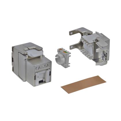 RJ45 Shortbody Keystone Modul STP Cat.6A 500Mhz 10Gbit vollgeschirmt werkzeuglos mit integriertem Shutter