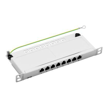 """10"""" Patchpanel Cat.6A 8-Port 0,5HE RJ45 geschirmt Desktop Aufputz grau 10GBit"""