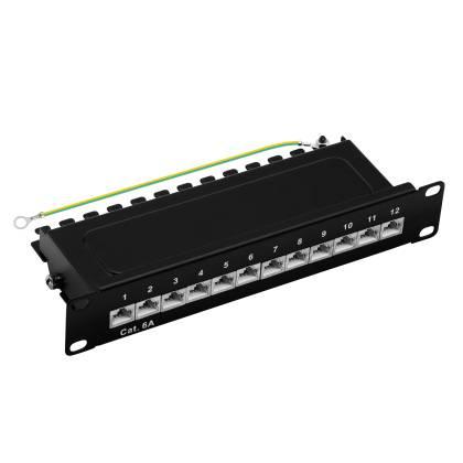 "10"" Patchpanel Cat.6A 500MHz 12-Port 1HE RJ45 geschirmt schwarz 10GB ProfiPatch"