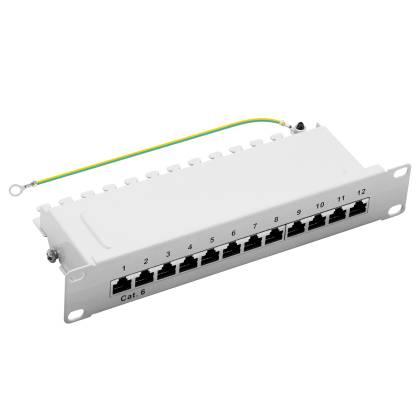 "10"" Patchpanel Cat.6 250MHz 12-Port 1HE RJ45 geschirmt grau 1GB LAN ProfiPatch"