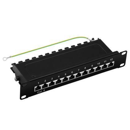 """10"""" Patchpanel Cat.6 250MHz 12-Port 1HE RJ45 geschirmt schwarz 1GB ProfiPatch"""
