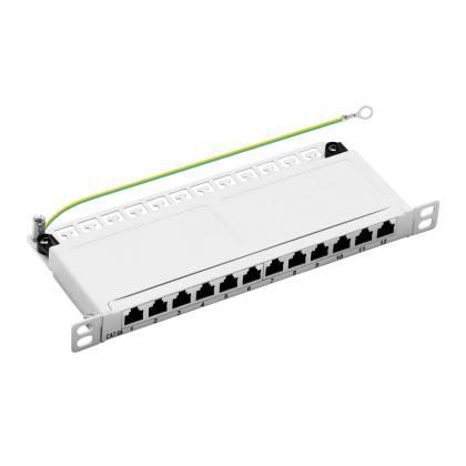 """10"""" Patchpanel Cat.6A 12-Port 0,5HE RJ45 geschirmt Desktop Aufputz grau 10GBit"""