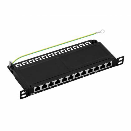 "10"" Patchpanel Cat6A 12-Port 0,5HE RJ45 geschirmt Desktop Aufputz schwarz 10GBit"