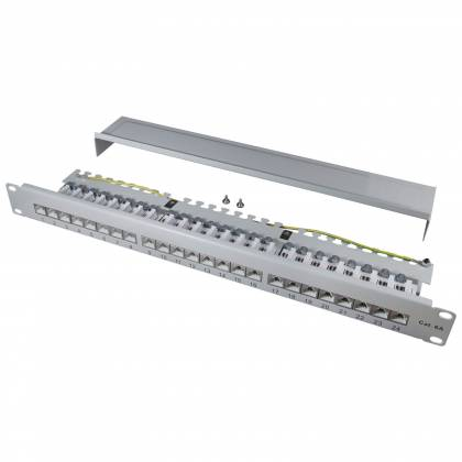 "19"" Patchpanel Cat.6A 500MHz 24-Port 1HE RJ45 geschirmt grau 10GB LAN ProfiPatch"