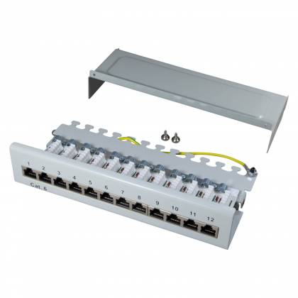 Patchpanel Cat.6 12-Port 1HE RJ45 geschirmt Desktop Aufputz grau 1GB ProfiPatch