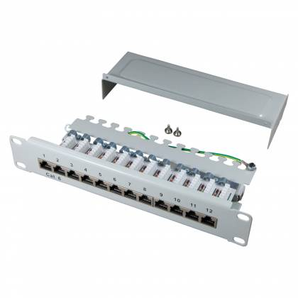 "10"" Patchpanel Cat.6 250MHz 12-Port 1HE RJ45 geschirmt grau 1GB LAN ProfiPatch"