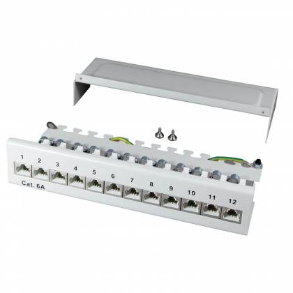 Patchpanel Cat.6A 500MHz 12-Port 1HE geschirmt Desktop Aufputz grau ProfiPatch