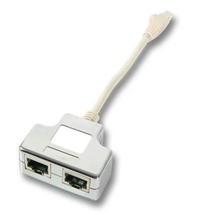 Netzwerk Splitter Y-Adapter Portdoppler Verteiler Cat5e RJ45 2-fach LAN Ethernet