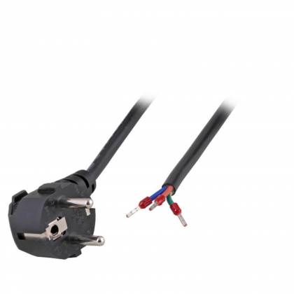 Netzleitung Schutzkontakt 90° CEE 7/7 - Open End AE 3 x 0,75 mm² schwarz 1,8m