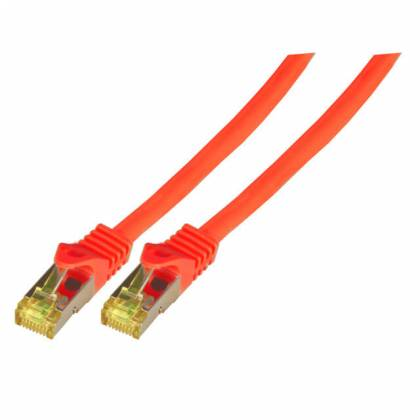 Patchkabel Cat.6A S/FTP LSZH Cat.7 Rohkabel RJ45 PiMF 10GB rot 1,5m