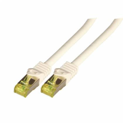 Patchkabel Cat.6A S/FTP LSZH Cat.7 Rohkabel RJ45 PiMF 10GB weiß 1,5m
