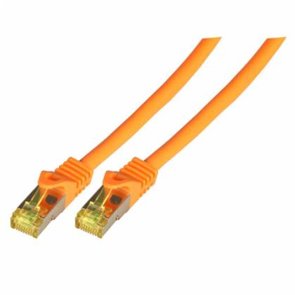 Patchkabel Cat.6A S/FTP LSZH Cat.7 Rohkabel RJ45 PiMF 10GB orange 1,5m