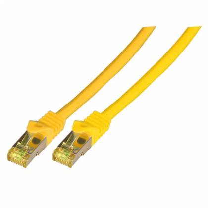 Patchkabel Cat.6A S/FTP LSZH Cat.7 Rohkabel RJ45 PiMF 10GB gelb 7,5m