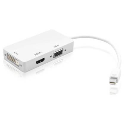 Adapter 3in1 MiniDisplayPort auf HDMI/DVI/VGA Techly IADAP-MDP-COMBOF12