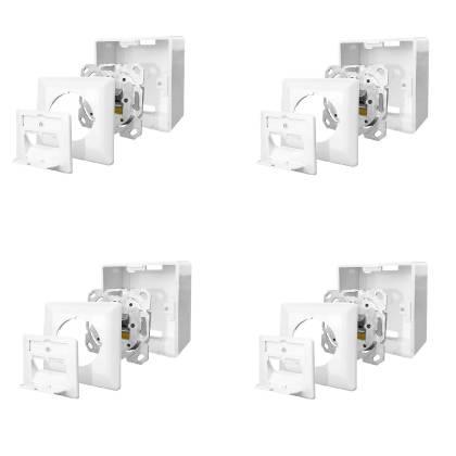 4x Netzwerkdose Cat.6A 500MHz 2-Port geschirmt weiß Kombidose [Aufputz + Unterputz]