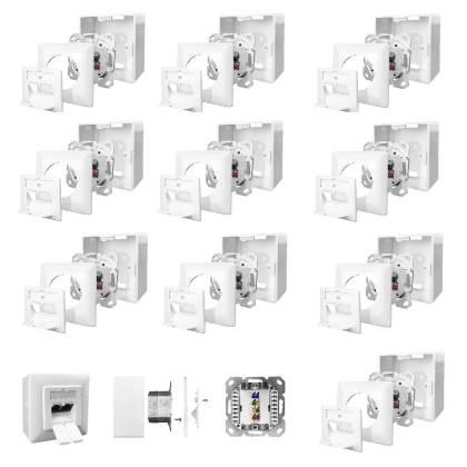 10x Netzwerkdose Cat.6A 500MHz 2-Port geschirmt weiß Kombidose [Aufputz + Unterputz]