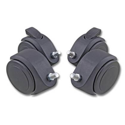 Lenkrollen Set 80mm mit Feststeller mit Stahl-Gewindestift M10  für Netzwerkschrank s01 CLASSIC