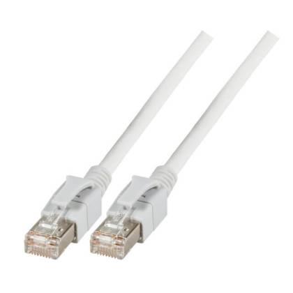 Patchkabel Cat.6a VC LED S/FTP LSZH Cat.7 Rohkabel RJ45 PiMF 10GB weiß 0,5m
