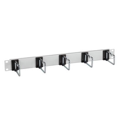 """19"""" Kabelführungspanel 1HE Stahl Metall mit 5 Bügeln 75mm/110mm grau/schwarz"""
