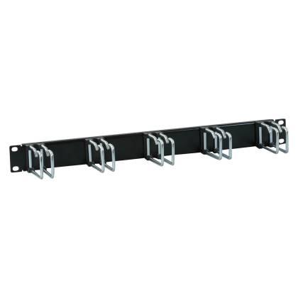 """19"""" Kabelführungspanel 1HE Stahl Metall mit 5 Doppelbügel 75mm schwarz RAL9005"""
