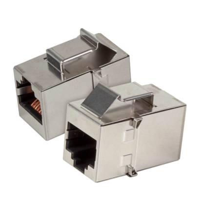 1x Keystone Verbinder Adapter Kupplung Cat.5e 2xRJ45 Buchse geschirmt Edelstahl