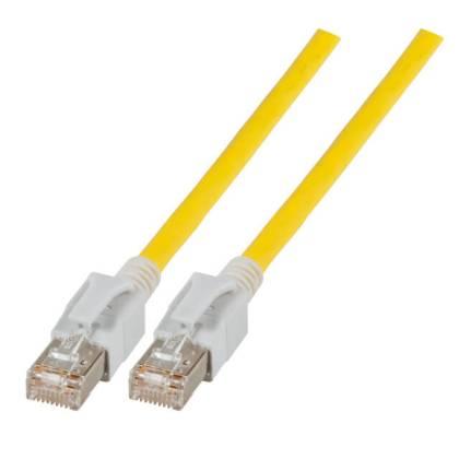 Patchkabel Cat.6a VC LED S/FTP LSZH Cat.7 Rohkabel RJ45 PiMF 10GB gelb 1,5m